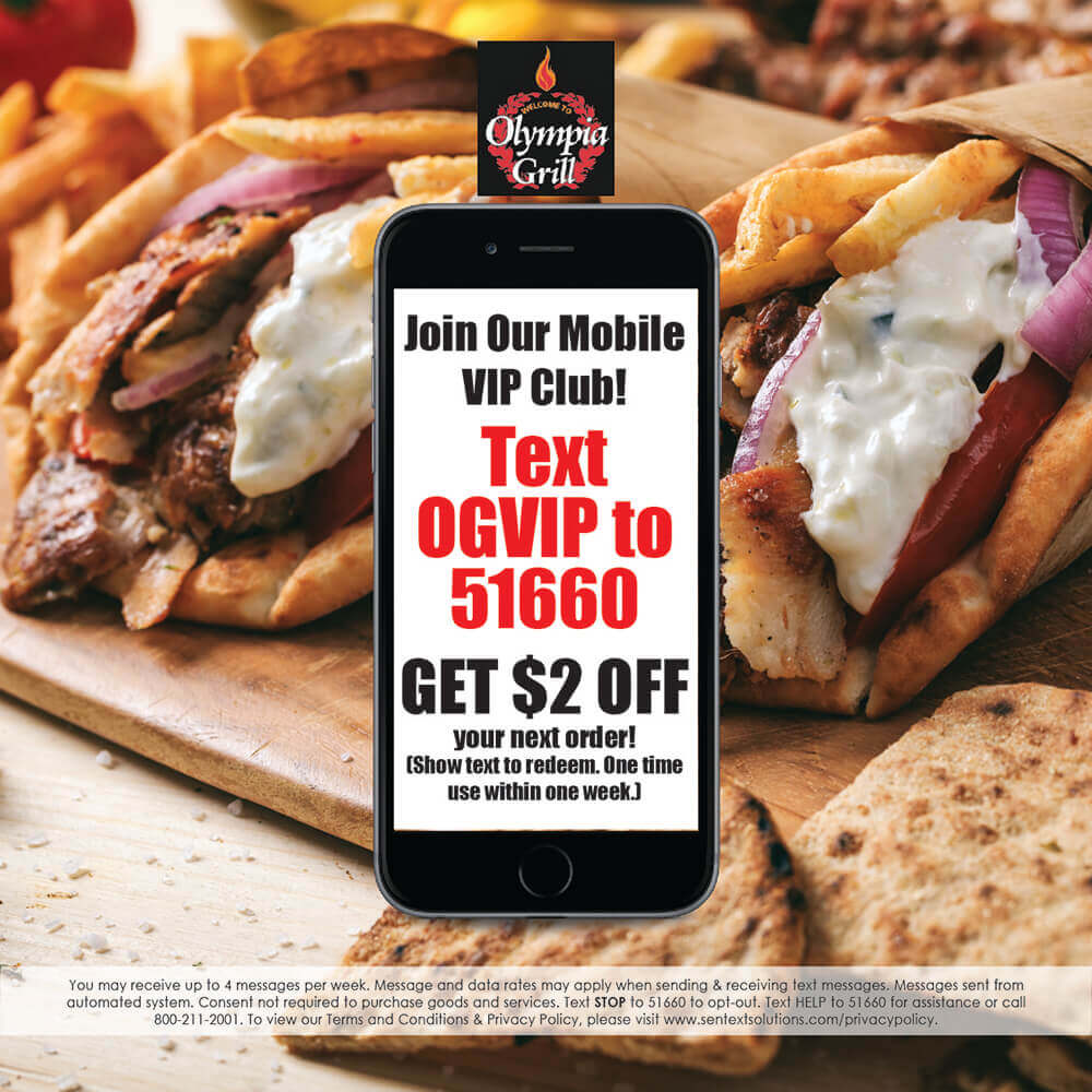Join our text club for $2 off your next order. Text OGVIP to 51660