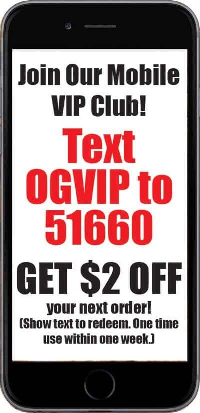 Cell phone showing olympia's text VIP club